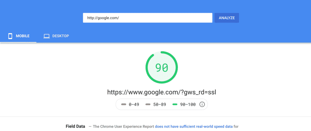 Google PageSpeed Website Insights
